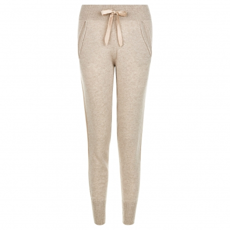 100% Italian Sustainable Cashmere Track Trousers with silk detail