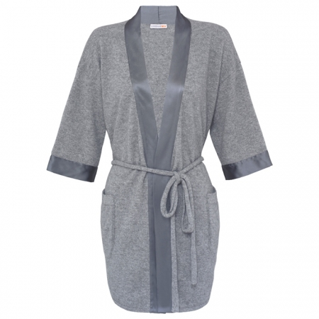 100% Italian Sustainable Cashmere Robe with silk detail