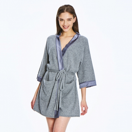 Soft 2 ply 100% Italian Cashmere Robe with silk detail in dove grey