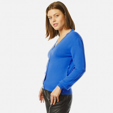 Cashmere cardigan in cornflower blue
