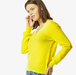 Detailed cashmere v-neck sweater in citrus yellow