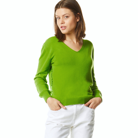 Cashmere v-neck sweater in chartreuse green