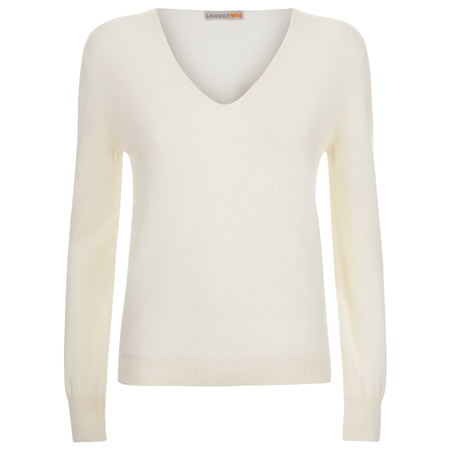 Cashmere v-neck sweater in white