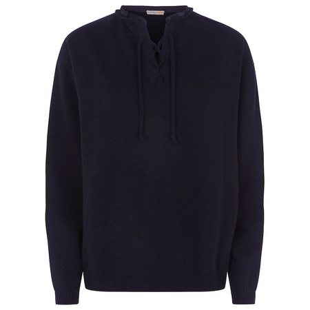 Lace-up recycled cashmere sweater in navy