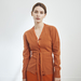 Cashmere cardigan with belt in burnt orange
