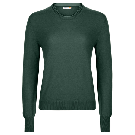 Recycled Cashmere Crew Neck in Forrest Green