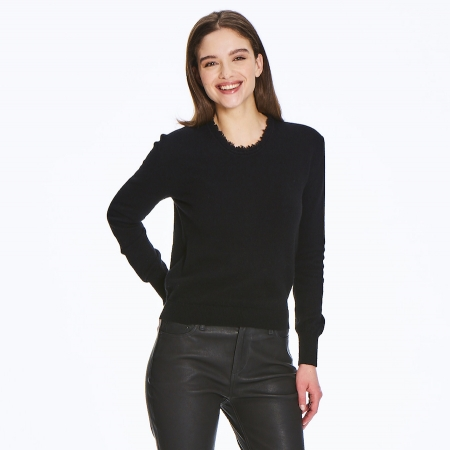 Fine 2 ply 100% Italian cashmere crew neck sweater with fringe detail