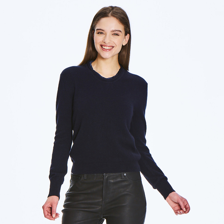 Soft 2 ply 100% Italian Cashmere sweater with raw edge silk detail