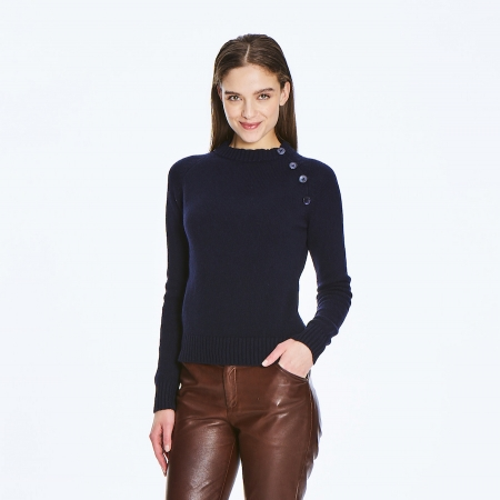 Chunky 6 ply 100% Italian Cashmere Sweater with button detail
