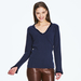 2 ply 100% Italian cashmere sweater with velvet detail
