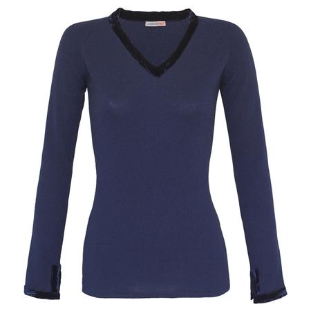 100% Italian cashmere sweater with velvet detail