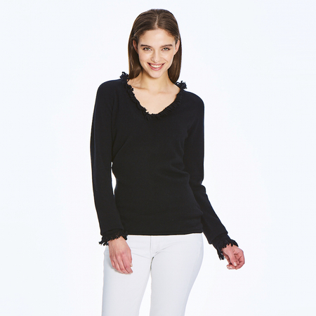 The Fringe Detailed 2 ply 100% Italian Cashmere sweater